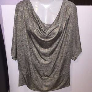 New Directions shiny gray top. Size Large.